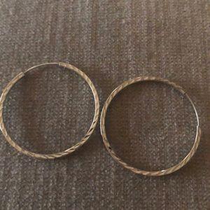 Dainty diamond cut sterling silver hoop earrings